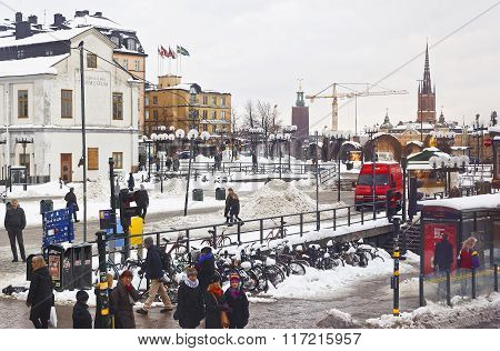 STOCKHOLM, SWEDEN - JANUARY 5, 2011: Sodermalm and view to Riddarholmen in Gamla Stan in Stockholm. Stockholm is the capital of Sweden and the most populous city in the Nordic region.