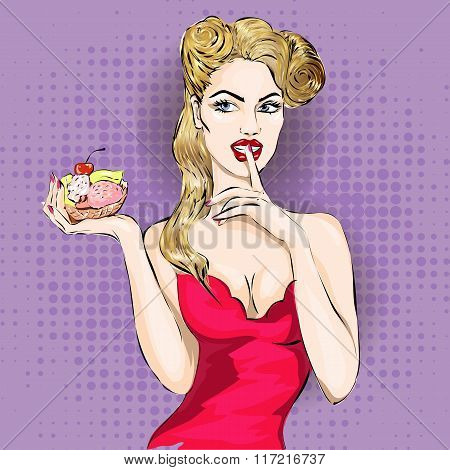 Pop Art Woman Portrait With Cupcake Or Ice Cream