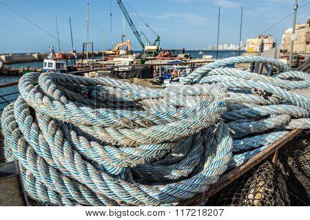 ropes in port of Jaffa Tel Aviv Israel poster