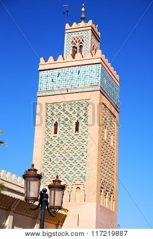 Maroc Africa Minaret And The Blue    Street Lamp