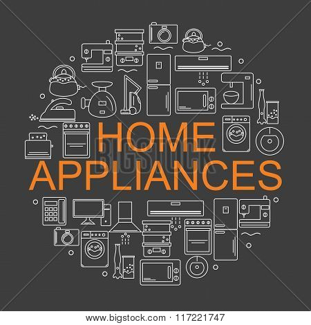 Home appliances. Icons of home appliances arranged in a circle in the style of the line.