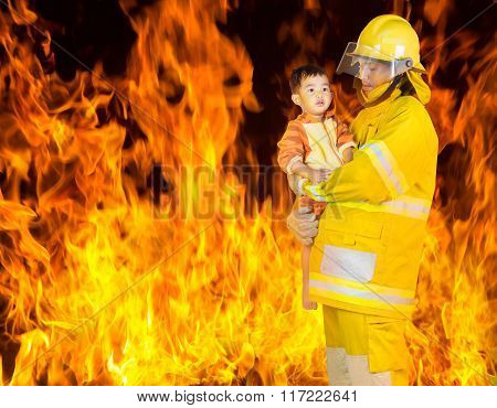 Fireman Rescued The Child From The Fire