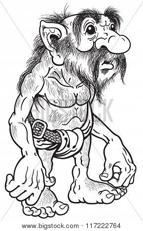 primitive old caveman or troll black and white poster