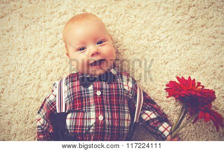 Happy Baby Boy Gentleman With Flower