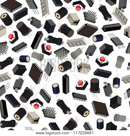 Seamless Pattern Of The Radio Components