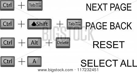 Set Of Combination Button Keyboard