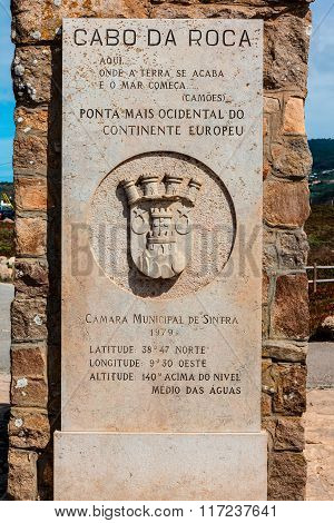 Cabo da Roca monument in Portugal.