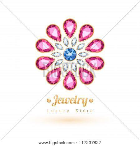Elegant gemstones vector jewelry decoration. Ethnic floral vignettes. Good for fashion jewelry store design logo. poster