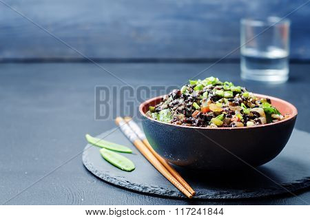 Black Rice With Snap Peas And Vegetables