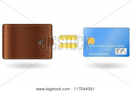 Wallet equal to a credit card
