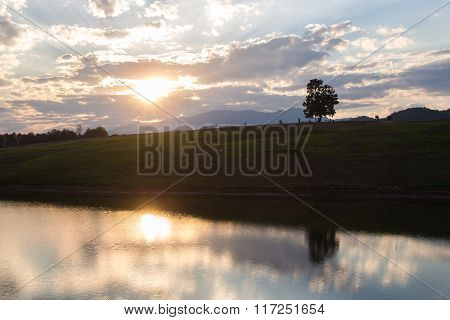 Silhouette Of A Single Tree With Sunset Cloudscape Over A Lake