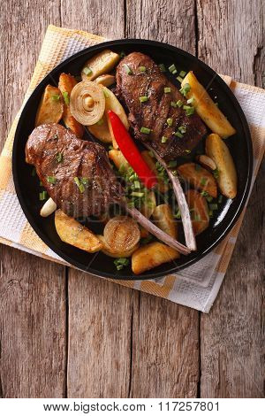 Beef Steak With Chili And Fried Potatoes. Vertical Top View