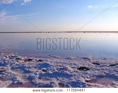 landscape with salty sea where the salt is extracted in Sivash poster