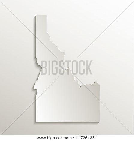 Idaho map card paper 3D natural raster
