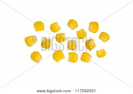 Several Grains Of Canned Corn Isolated