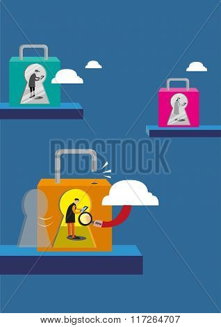 Internet Security and Privacy concept. Editable Clip Art.
