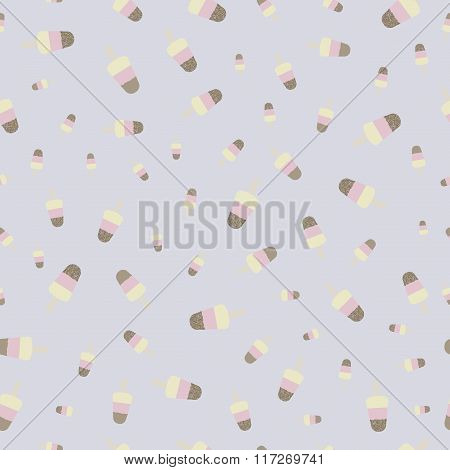 Popsicle ice cream with crumble mixture vintage pattern. Retro background for your design. Seamless