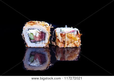 """Roll """"Bonito"""" flakes with tuna outside and tuna inside. poster"""