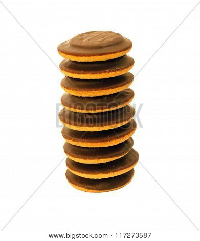 Heap of chocolate biscuit cookies. Tower of delicious jaffa cakes