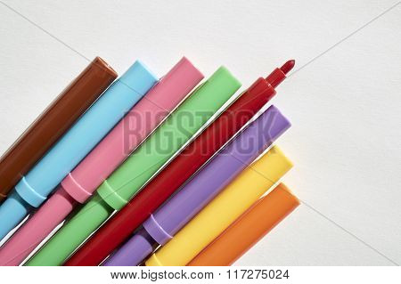 Markers In A Group, Colors For Writing And Drawing