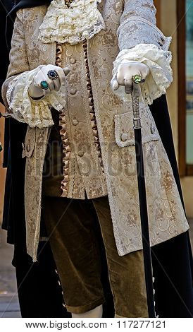 Detail View Of A Epoque Costume At Venetian Carnival 2