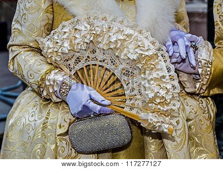 Detail View Of A Epoque Costume At Venetian Carnival 3