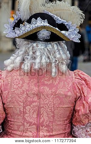 Back View Of A Epoque Costume At Venetian Carnival