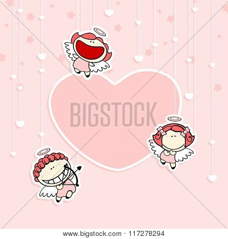 Romantic Valentine's Day card with cute cupids and space for your text or photo (raster version)