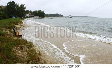 A flooded beach