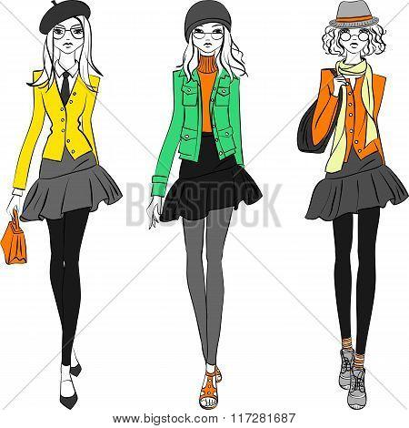 Vector beautiful fashion girls top models