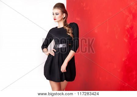 Elegant Beautiful Woman In Black Dress.