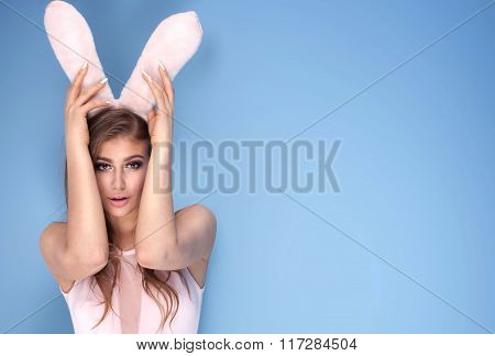 Lovely Sensual Girl In Bunny Ears.