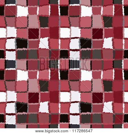 Seamless geometric mosaic checked pattern. Background of rectangles and squares. Patchwork, ceramic,