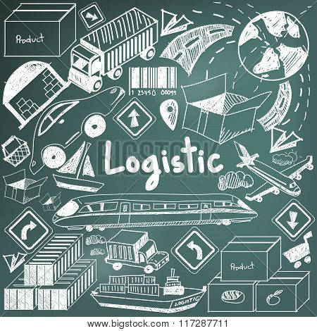 Logistic, Transportation, And Inventory Management Chalk Handwriting Doodle Icon Cargo Object Sign A