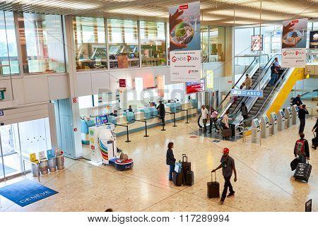 GENEVA, SWITZERLAND - SEPTEMBER 11, 2014: interior of Geneva Airport. Geneva Airport, formerly known as Cointrin Airport, is the international airport of Geneva.