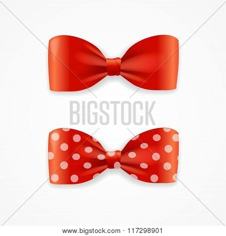 Red Bow Tie Set. Vector