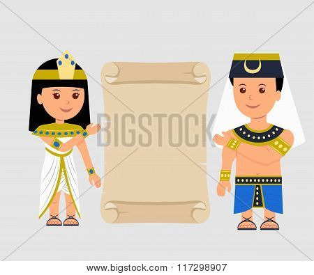 Egyptian man and a woman holding a papyrus. Isolated Egyptian papyrus and characters on a light back