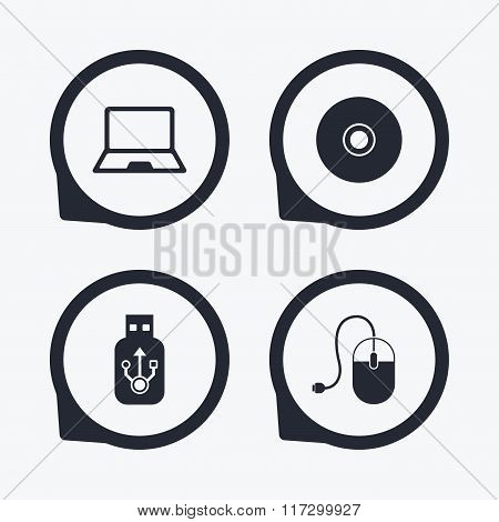 Notebook pc and Usb flash drive stick icons. Computer mouse and CD or DVD sign symbols. Flat icon pointers. poster