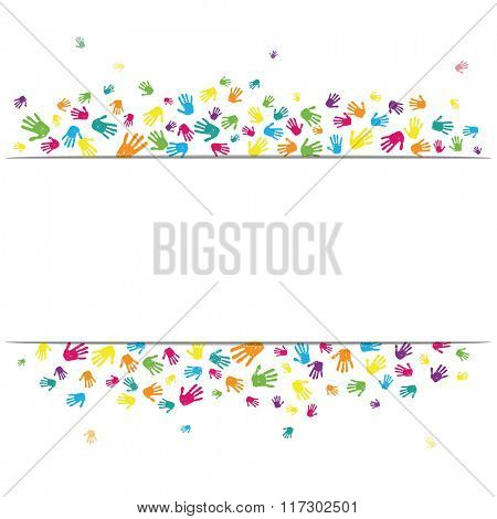 Abstract vector hand prints background