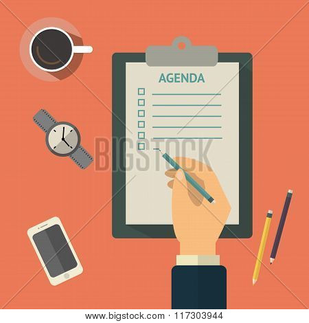 Agenda list concept vector illustration. Business concept with paper agenda, pen, coffee, watch, pho