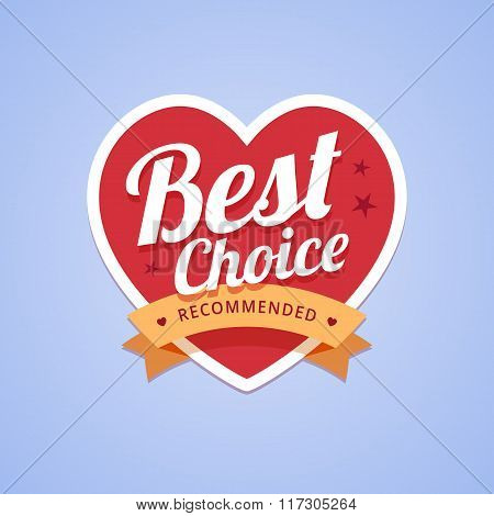 Best choice badge with heart shape and ribbon
