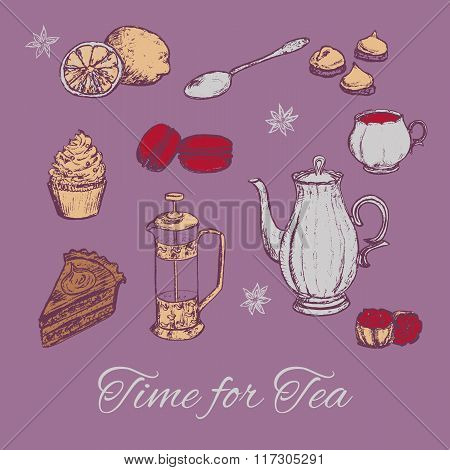 Hand draw tea party vector illustration. Tea background with cakes and some sweets.
