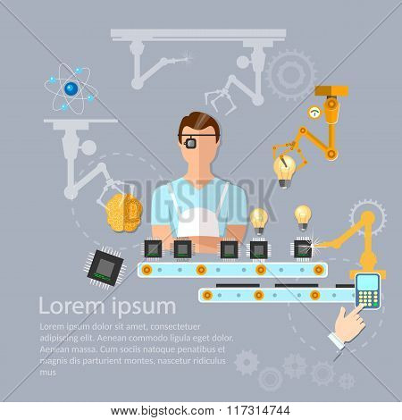 Line On Assembly Of Computers Conveyor Line And Robotic Arm Manipulators Vector Illustration