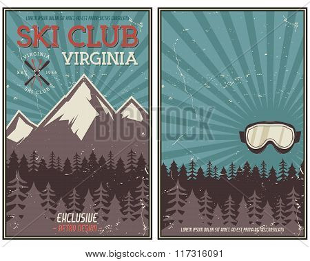 Retro summer or winter holiday poster. Travel and vacation brochure. Camping promotional banner. Vin