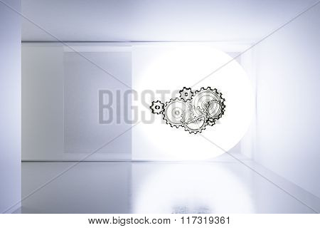Empty White Room With Gears On The Screen