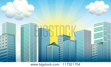 Sky scrapers in the city illustration