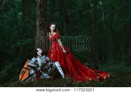 Medieval knight with lady