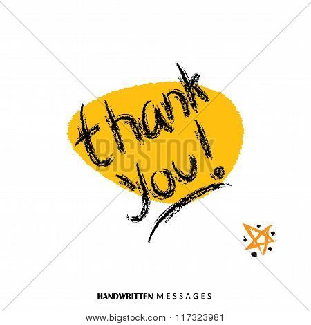 Thank You Hand Written Words Vector Graphic