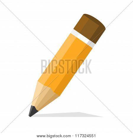 Classic Pencil. Flat Style Design Icon. Vector