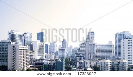 Bangkok cityscape of different office buildings and condos.